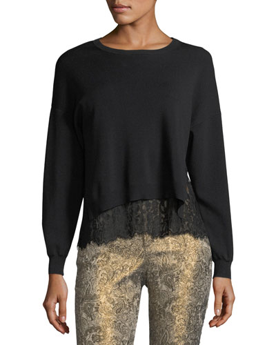 Iva Long-Sleeve Crewneck Sweater w/ Lace Tank