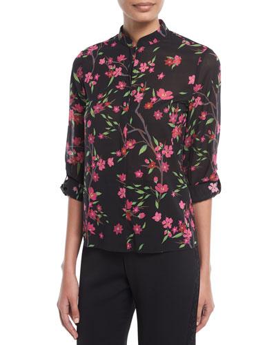 Eloise Floral-Print Button-Front Mandarin Collar Blouse