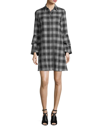 Jem Button-Front Long-Sleeve Plaid Shirtdress