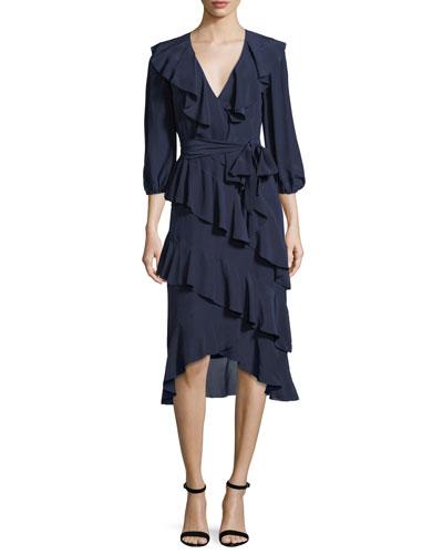 Kye V-Neck Tie-Waist Ruffled Midi Dress