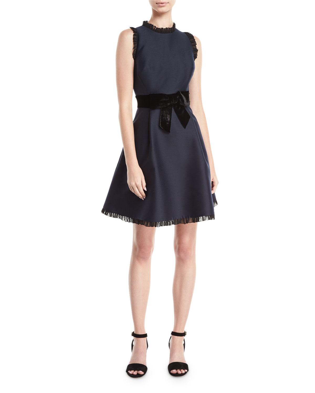 velvet-bow fit & flare sleeveless cocktail dress