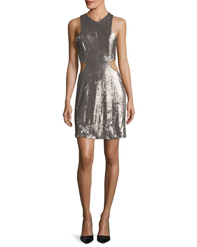 Sequined V-Neck Cutout Cocktail Dress