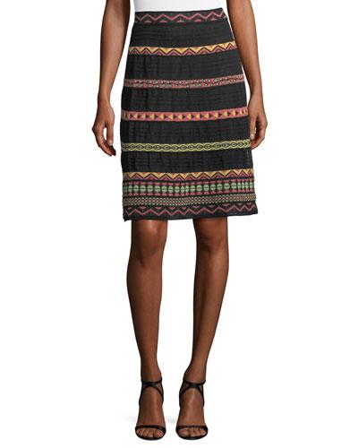 Geometric Ribbon-Striped Skirt