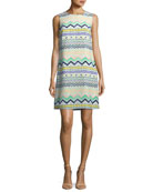 Zigzag-Print Sleeveless Silk Dress