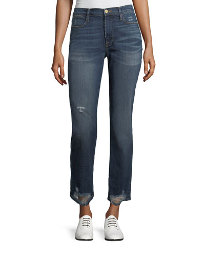 Le High Straight-Leg Distressed Hem Jeans