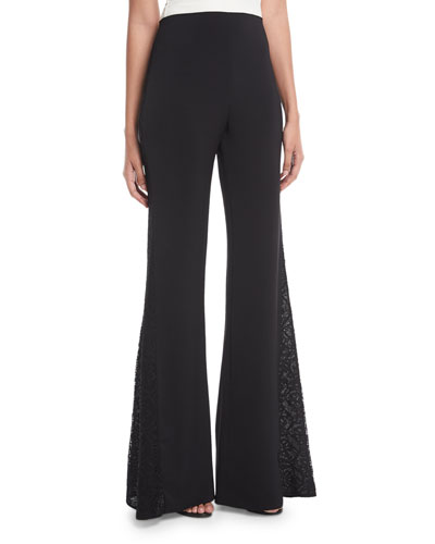 Mandy Side-Panel Flared Crepe Pants