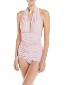 Plunging Halter Ruched One-Piece Swimsuit