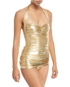 Bill Mio Halter Shirred Metallic One-Piece Swimsuit