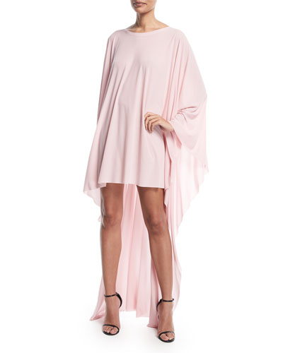 High-Low Round-Neck Poncho Dress