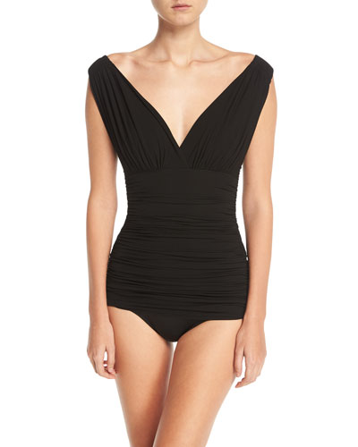 Tara Mio V-Neck Solid One-Piece Swimsuit