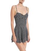 Dot-Print Underwire Swim Dress