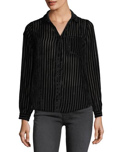 Striped-Velvet Burnout Blouse