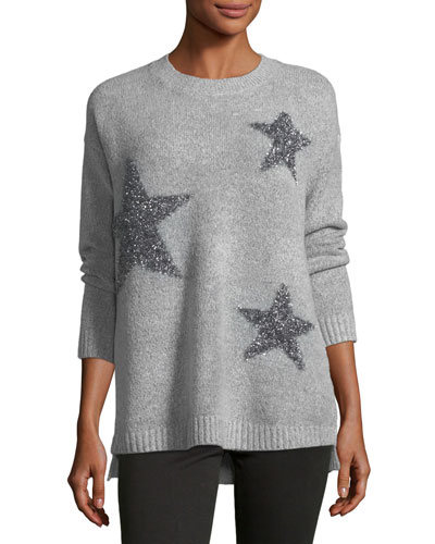 Metallic-Stars Crewneck Sweater