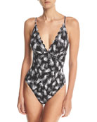 Plunging Petal-Print Strappy One-Piece Swimsuit, Plus Size