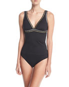 Threading Along V-Neck Solid Tankini Swim Top, Plus Size