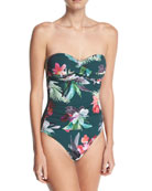 Jungle-Print Bandeau One-Piece Swimsuit, Plus Size