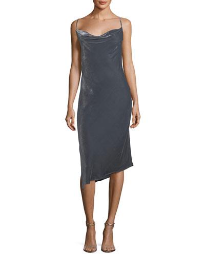 Gia Cowl-Neck Velvet Midi Dress