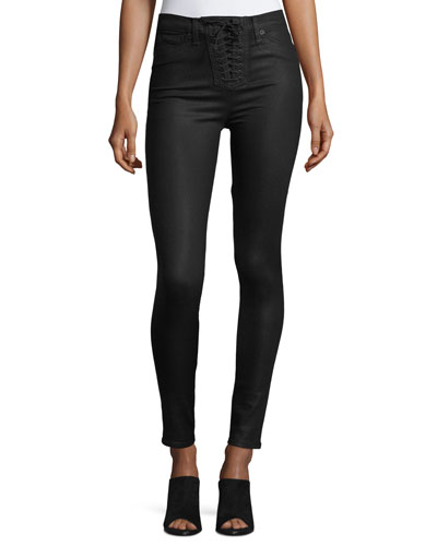 Bullocks Lace-Up High-Rise Super Skinny Pants