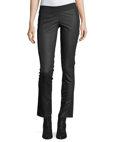 Valery Straight-Leg Leather Leggings