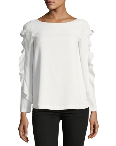 Belise Boat-Neck Ruffled Sleeves Crepe Top
