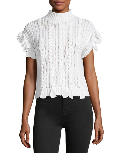 Zaroine Mock-Neck Merino Woven Sweater