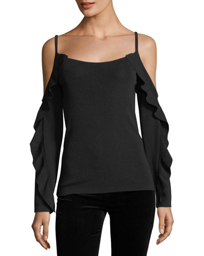 Lesley Cold-Shoulder Sweater w/ Ruffled Frills