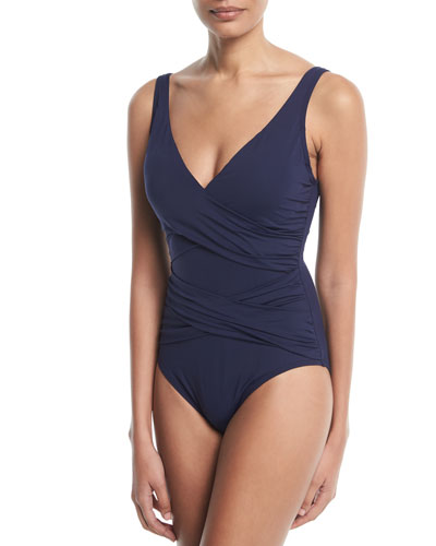 Pearl Wrap-Front Solid One-Piece Swimsuit