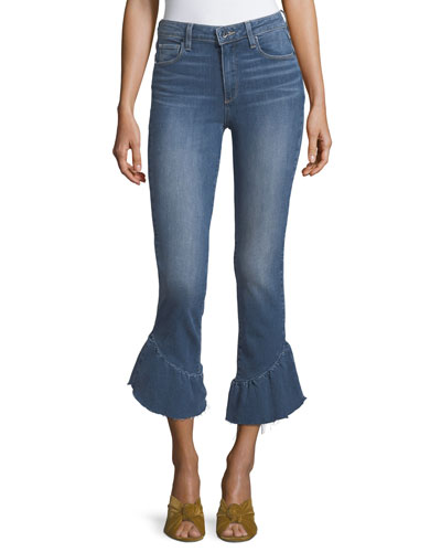 Flora Straight-Leg Jeans w/ Released Ruffled Hem
