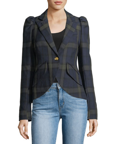 Pouf-Sleeve One-Button Plaid Blazer
