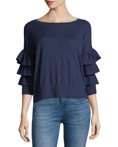 Tyrena Boat-Neck Tiered Ruffle-Sleeve Cashmere Sweater