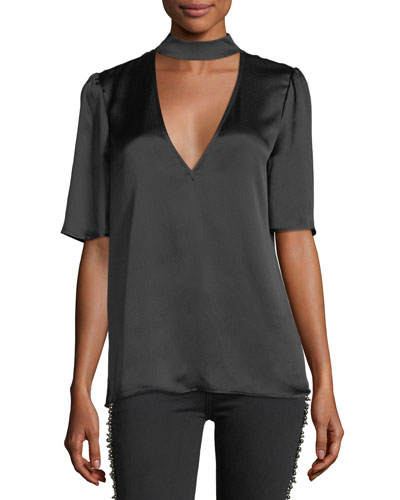 Cateline V-Neck Short-Sleeve Satin Blouse