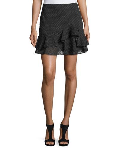 Cetrin Dotted Devoré Mini Skirt