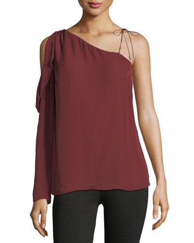 Florentina One-Shoulder Silk Blouse