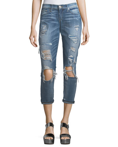 Mid-Rise Destroyed Straight-Leg Jeans