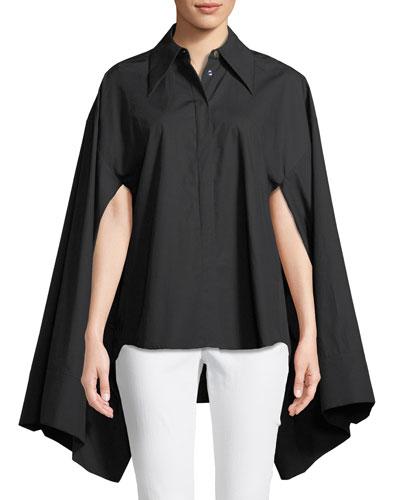 Button-Front Kimono-Sleeve Cotton Shirt