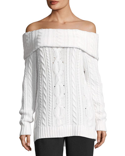 Sharron Off-the-Shoulder Cable-Knit Cashmere Sweater