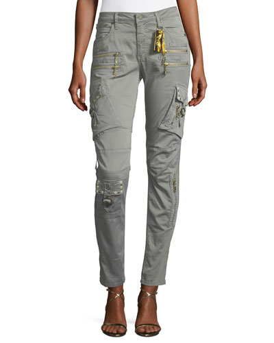 Raptor Mid-Rise Skinny-Leg Cargo Pants w/ Studs