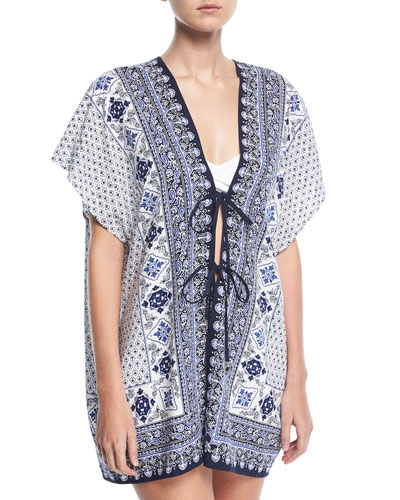 Tika Tie-Front Engineered Tunic, One Size