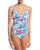 Marjorelle Deep-V Shirred Tankini Swim Top