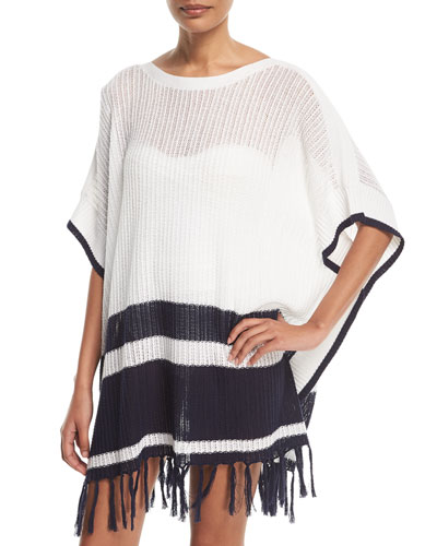 Linen-Cotton Striped Poncho Coverup, One Size