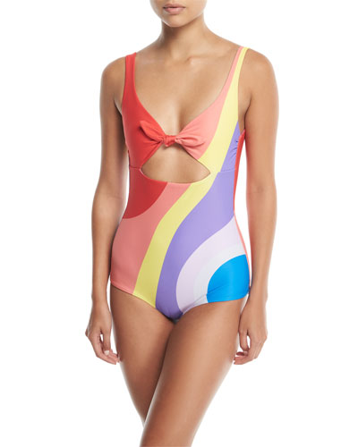 Adeline Tie-Front Low-Back Printed One-Piece Swimsuit