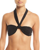 Odette Twist-Front Halter Solid Swim Top