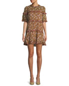 Maiwenn Ochre Floral-Print Tiered Mini Dress