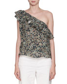 Thom One-Shoulder Printed Linen Blouse