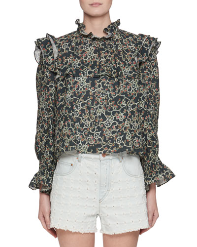 Ted Ochre Embroidered Long-Sleeve Linen Blouse