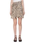 Tempster Printed Linen Wrap Skirt