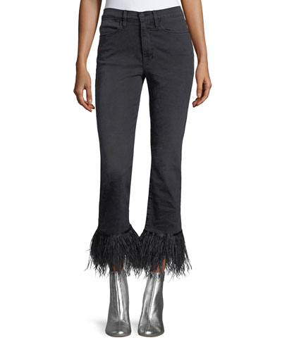 Le High Straight-Leg Ankle Jeans with Feather Hem