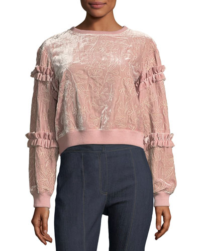 Nara Embroidered Velvet Pullover Sweatshirt w/ Ruffled Trim