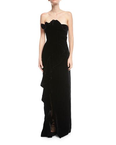 Annoziata Strapless Velvet Column Evening Gown w/ Ruffled Trim