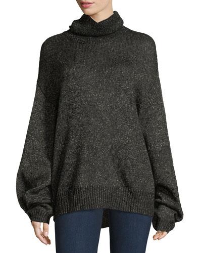 Jasper Turtleneck Metallic Mohair Knit Sweater